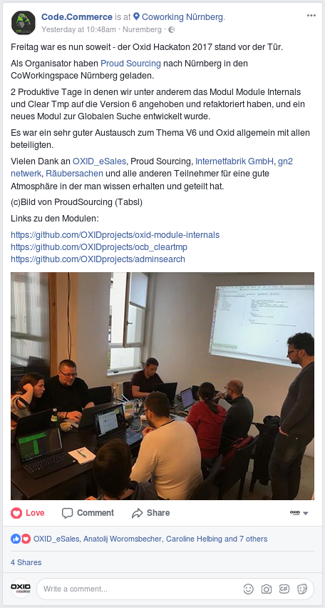 Facebook post von Code.Commerce über OXID Hackathon 2017