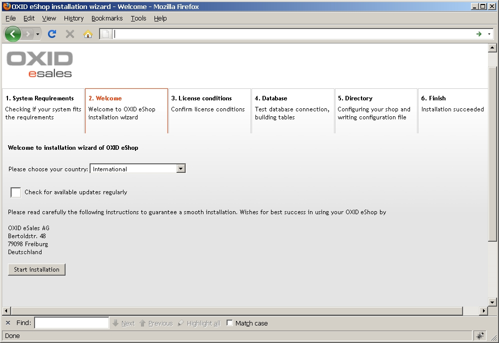 OXID eShop Installation Wizard: Selecting Default Language