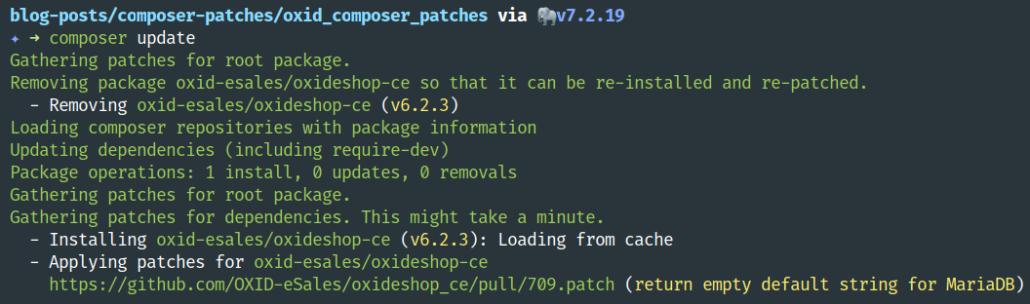 composer update output showing applied patches